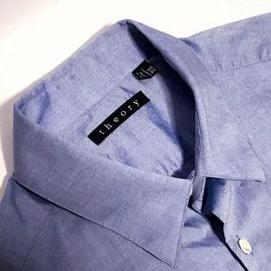 Theory Blue Chambray Shirt L Current Stock